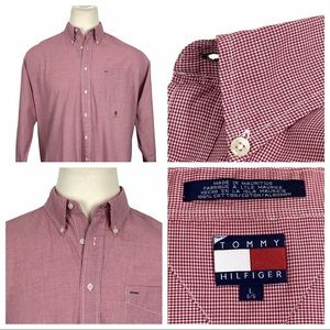 Tommy Hilfiger Red & White Long Sleeve Button Down